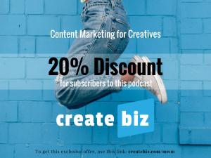 CreateBiz, discount, helping writers, helping musicians, helping artists, creatives, creative business